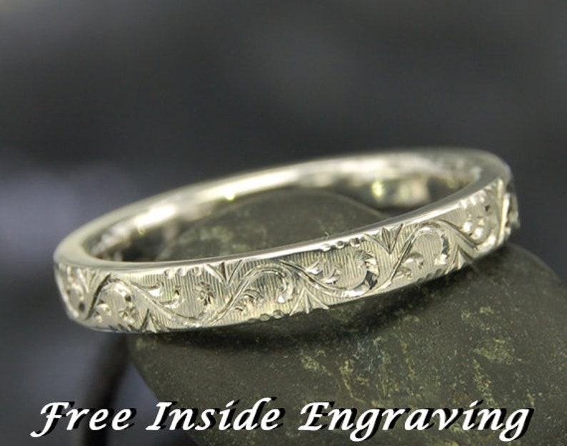 Antique engagement ring Stacking ring Stackable Silver ring Engagement ring Vintage Feminine Floral Hand Engraved Silver Ring