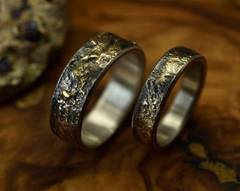 Rustic Matching bands set, Gold Reticulated band set, Gold wedding bands, Unique wedding bands,Wedding engagement Ring, Mens wedding band