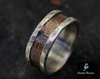 Rustic Copper Mens Ring, Mens Engagement Ring, Mens Wedding Band, Men's band Ring, Unique Anniversary Ring, Engagement Ring , Wedding Ring