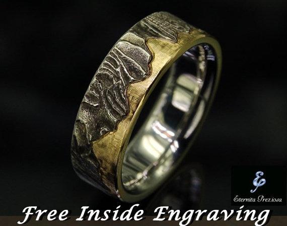 7mm Unique Mens Wedding Band Rustic Wedding Ring Men S Etsy