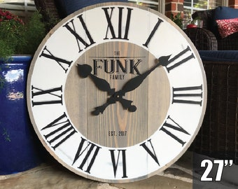 for Home Kitchen Living Room Rustic Farmhouse Art Decor 7th Anniversary Gift Oversized 30-inch Copper Wall Clock