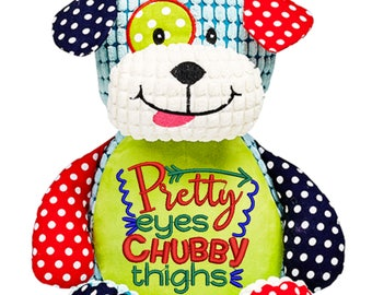 Cubbies Barkley Bone Harlequin Dog Personalized & Embroidered Monogrammed Stuffed Animal Gift