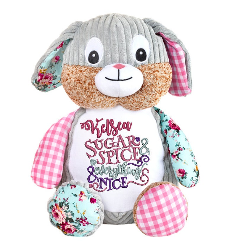 Cubbies Harlequin Pink Bunny Personalized & Embroidered image 0