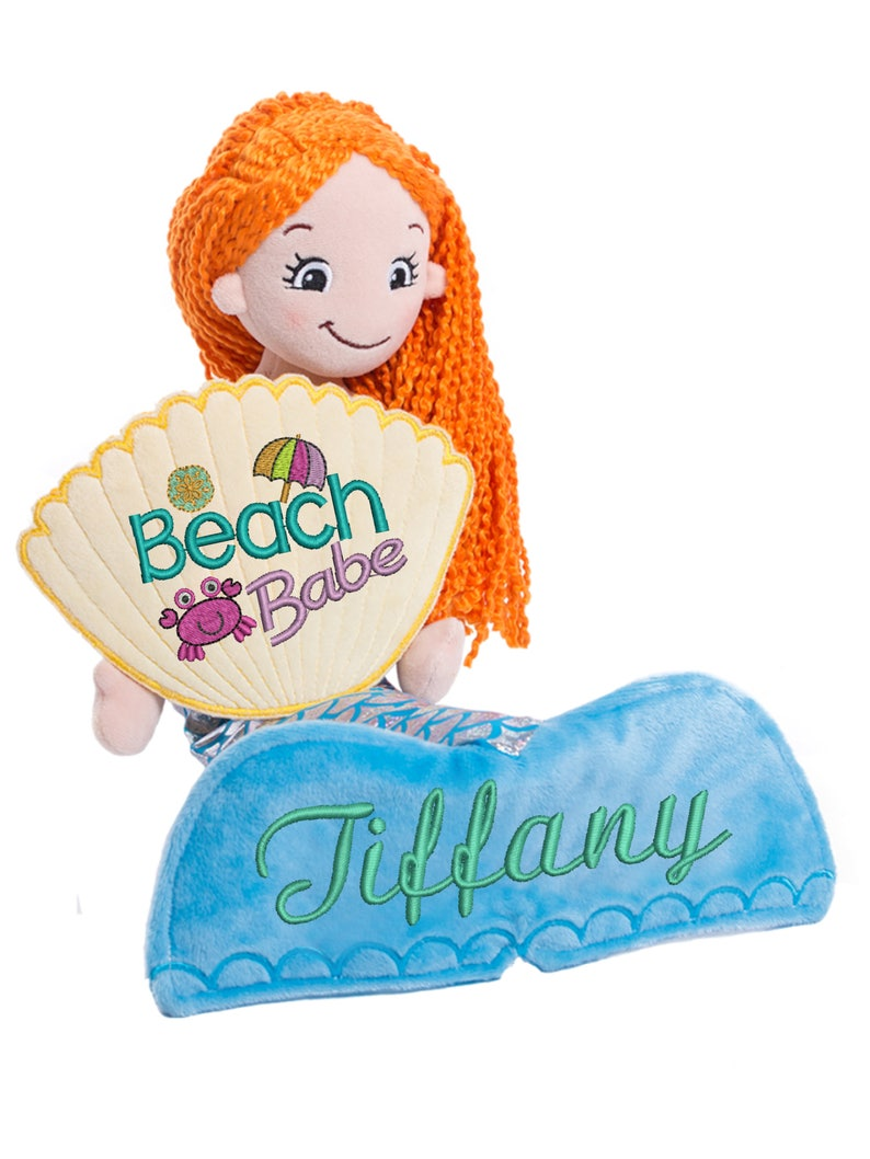 Cubbies Mermaid Rag Doll Personalized & Embroidered image 0