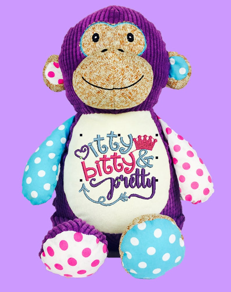 Cubbies Harlequin Purple Monkey Personalized & Embroidered image 0