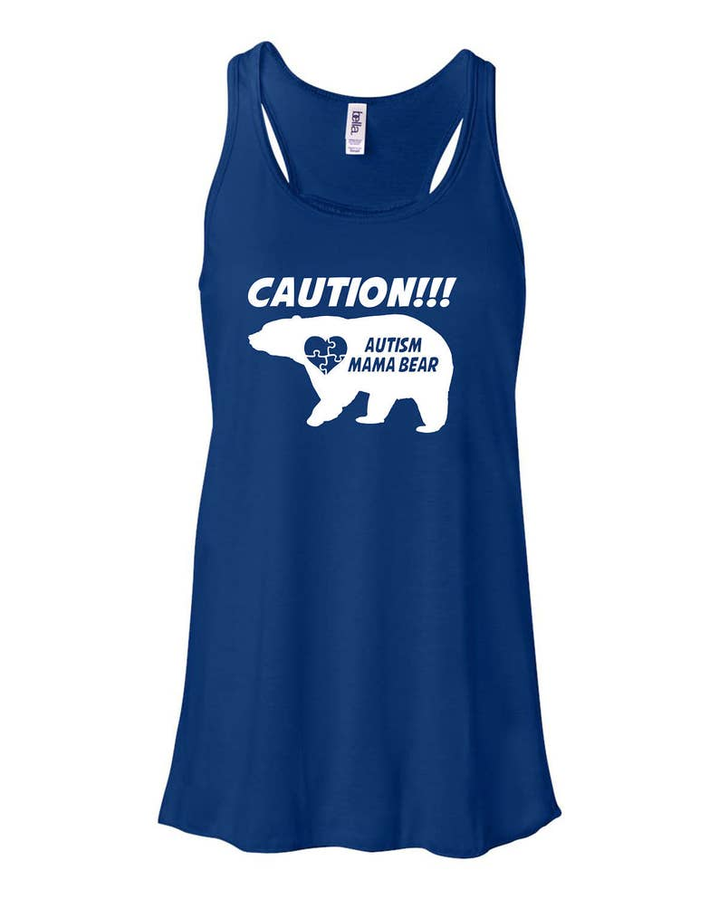 Caution Autism Mama Bear Ladies Flowy Tank image 0