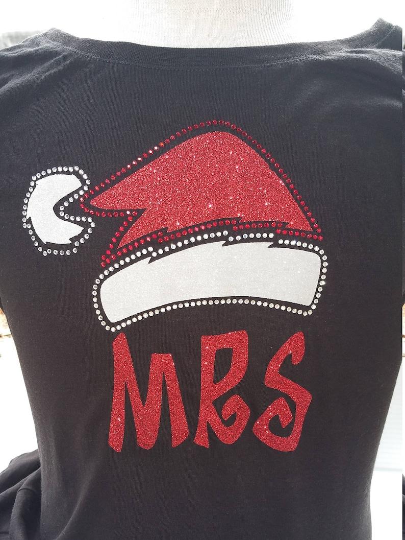 Mrs. Santa Hat Rhinestone and Glitter Bling Shirt image 0