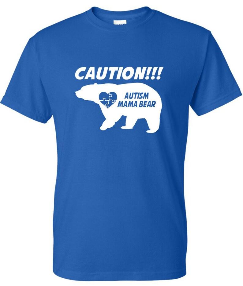 Caution Autism Mama Bear Crewneck image 0