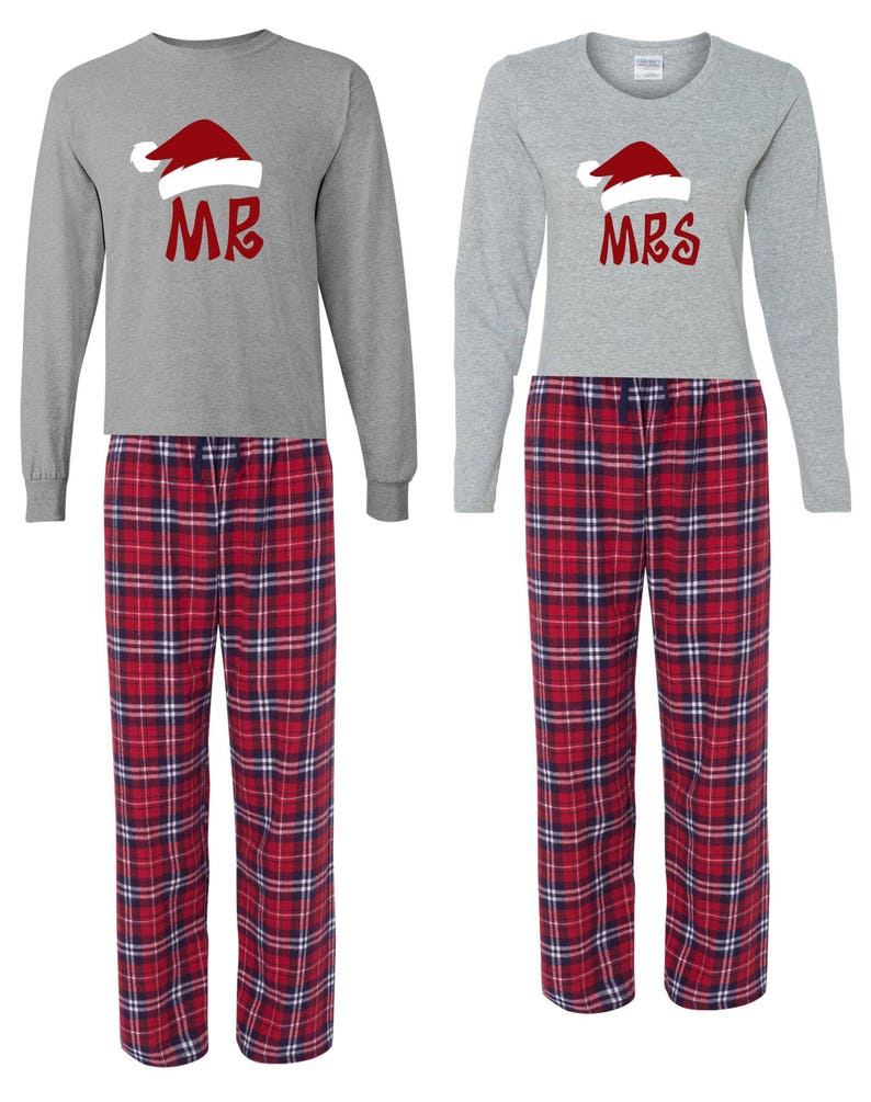 Mr. & Mrs. Santa Hat PJ and Long Sleeve Shirt set Christmas image 0