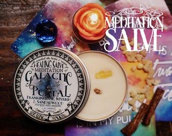 Meditation Anointing Balm *Galactic Portal* with Essential Oils, Herbs and Crystals -Sandalwood, Frankincense, Myrrh & Sodalite  2.1 oz
