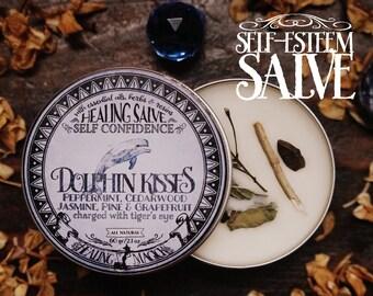 Self-Esteem Anointing Balm *Dolphin Kisses* Essential Oils, Herbs and Crystals -Cedarwood, Grapefruit,Jasmine, Pine,Peppermint & Tiger's Eye