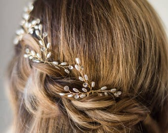 Pearl Hair pins Silver Gold Hair pins Bridal Hairpiece Bridal Hair pins Wedding Headpiece crystal pins crystal headpiece #169