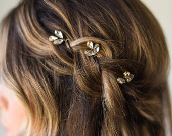 Crystal Hair Pins Bridal Hair Pins Wedding Hair Pins Silver Hair Pins Gold Hair Pins Bridal Bobby Pins Minimal Hair Pins Headpiece #159