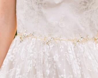 SALE Gold Beaded Belt Gold Bridal Belt Gold Belt Bridal Sash Woodland Belt Bohemian Belt Bridesmaid Belt Wedding Sash #40