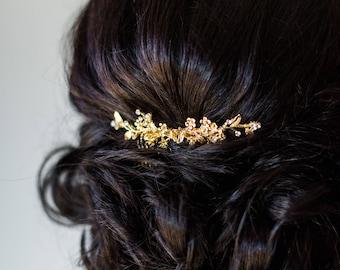 Gold Bridal Comb Flower Comb Wedding Comb Crystal Comb Bridal Hair Comb Floral Comb Branch Comb Boho Comb Gold Leaf Comb Bridal Leaf  #184
