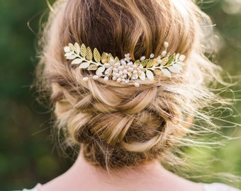 Gold Leaf Hair Comb Bridal Hair comb gold leaf hair piece bohemian hair comb pearl hair comb bridal comb wedding comb leaf headpiece #152