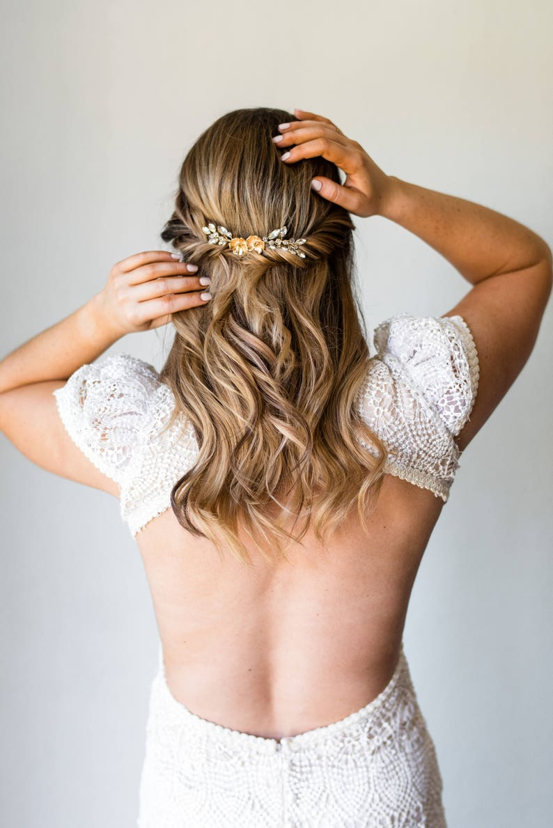 Bridal Comb Flower Hair Comb Crystal Comb Laurel Leaf Comb Wedding Comb Gold Bridal Comb Silver Bridal Comb Bridal Hairpiece  #158