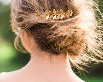 Gold Laurel Leaf Comb Gold Leaf Comb Bridal Comb Bridal Hair Comb Boho Hair Comb Laurel Leaf Hair Comb Bridesmaid Comb Bridesmaid Gift #115