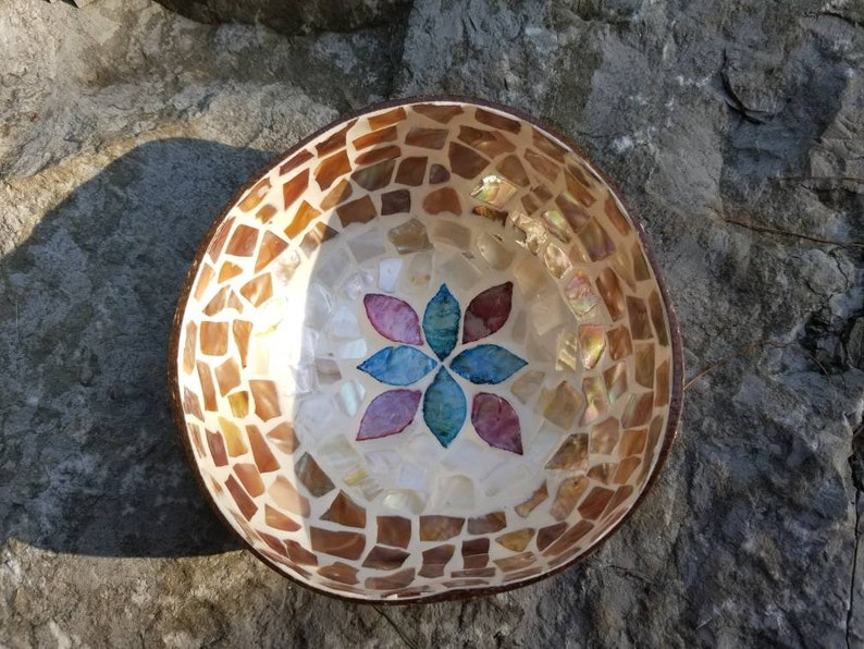 Flowers CB103 Coconut Bowl with Mother of Pearl