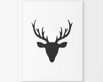 Deer Print, Deer Art, Deer Wall Art, Taxidermy, Deer Taxidermy, Deer Decor, Downloadable, Deer, Deer Wall Print, Deer Home Decor, Antler Art