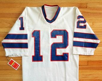 Vintage 80's Buffalo Bills #12 Jim Kelly Joe Ferguson Sand Knit Jersey SZ Small
