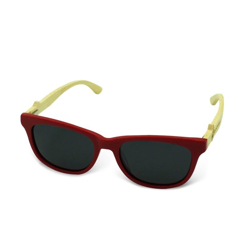 Boostnatics Bamboo Wood Boosted Turbo Shades/Sunglasses - Red / Polarized Black