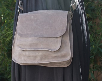 Women purse handbag leather crossbody, grey leather handbag, grey women bag, grey leather purse, womens bag, mother's day