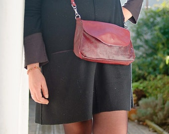 Red Women purse handbag leather crossbody , upcycling, upcycled, recycling, recycled, idea for women