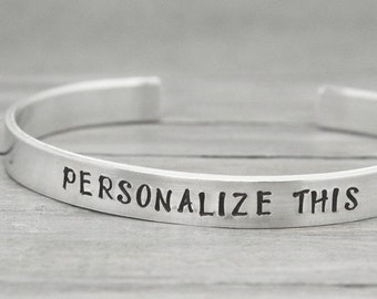 Personalized Custom Hand Stamped Message Sister Friendship Couple Cuff Bangle Bracelet