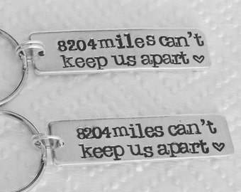 2 x Personalized hand stamped long distance friendship relationship couple key chain