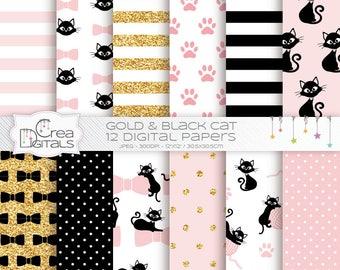 Rose, or et noir numérique papier - motif chat - chat chaton 12 pack de papier numérique - motif animaux - - INSTANT DOWNLOAD