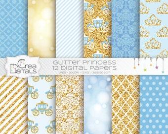 Glitter Fairy Princess - 12 papiers digital bleus et or - Téléchargement immédiat