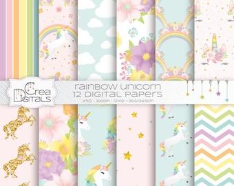 Documents de licorne arc en ciel pastel - or paillettes Licorne motif - floral Licorne - 12 pack de papier numérique - INSTANT DOWNLOAD