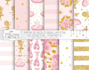 Ballerine - 12 roses et or papiers digitaux - ballet et tutu printables - téléchargement DIRECT
