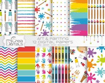 Brosse à papier numérique - motif peinture - art party, palette, tube de peinture, tache, chevalet - 12 pack de papier numérique - INSTANT DOWNLOAD