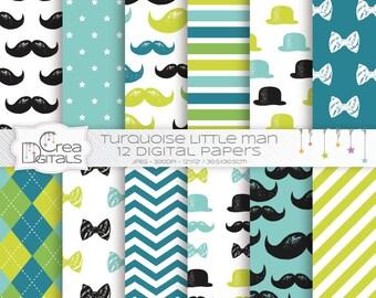Petit homme turquoise papier numérique - 12 pack de papier numérique bébé garçon - et moustache livre vert - INSTANT DOWNLOAD