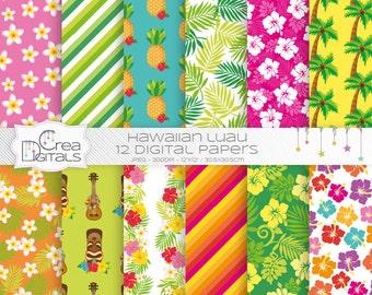 Hawaiian Luau - pack de papier numérique 12 - INSTANT DOWNLOAD
