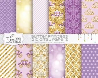 Glitter Fairy Princess - 12 papiers digitaux violettes et or - INSTANT DOWNLOAD