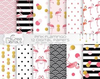 Flamant rose - 12 pack de papier numérique - INSTANT DOWNLOAD