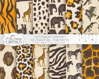 Pack de papier numérique 12 Vintage jungle safari - peau d'animal - - INSTANT DOWNLOAD