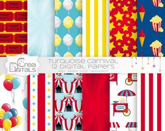 Carnaval et le cirque - 12 papiers digital rouges et bleus - téléchargement immédiat