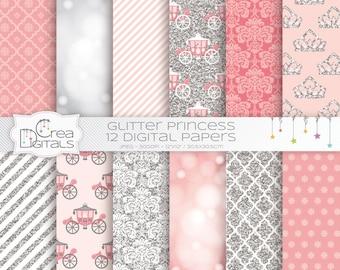 Glitter Fairy Princess - 12 papiers digitaux roses et argentées - INSTANT DOWNLOAD