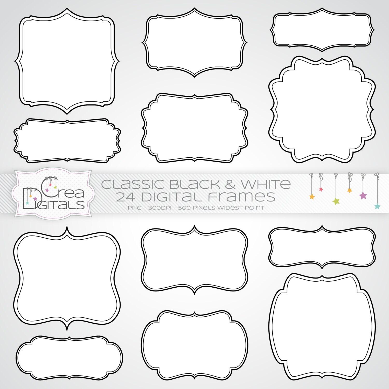 Marcos clásicos blancos con contornos negros - 24 cliparts digitales ...