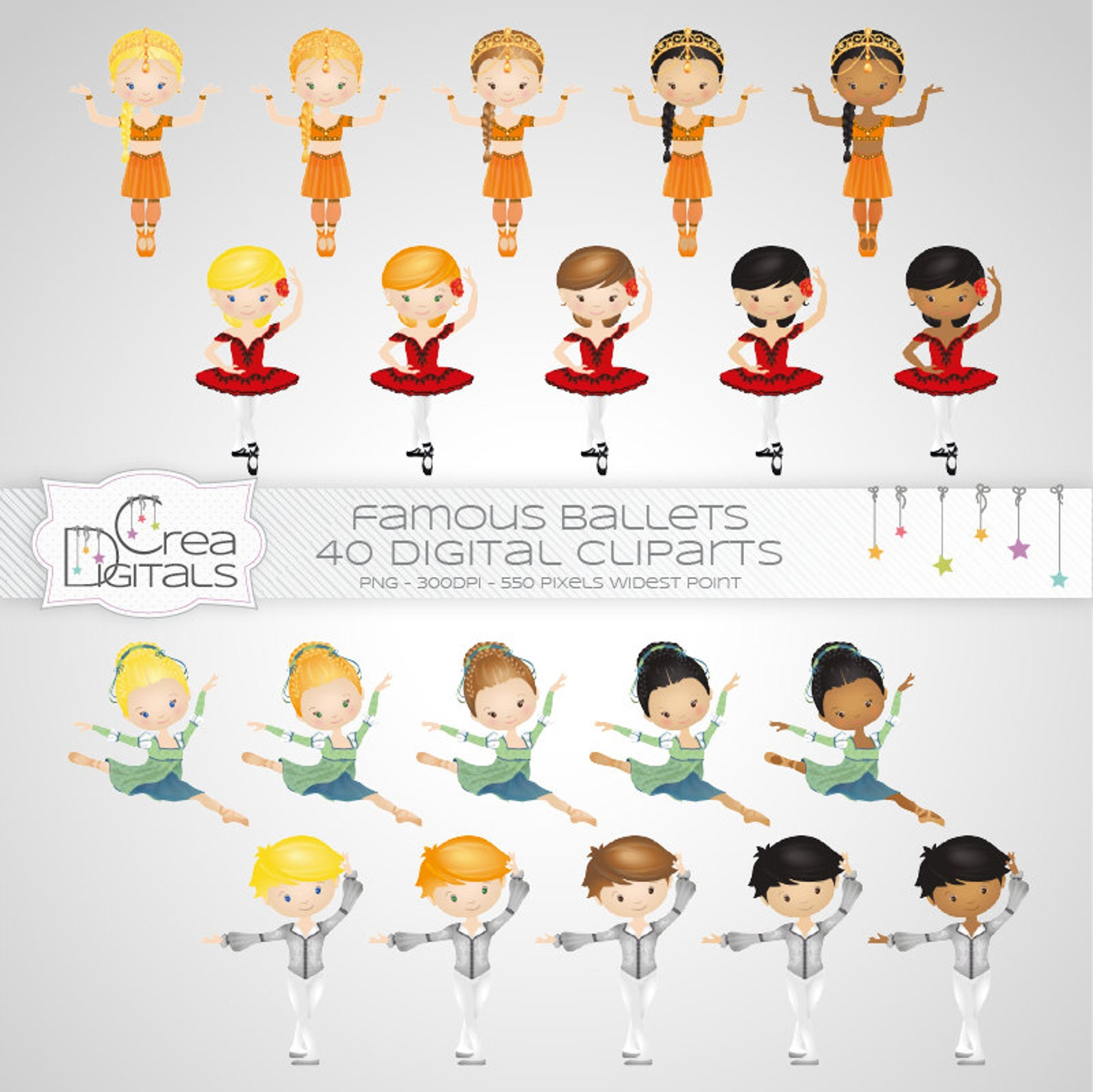ballerina cliparts - famous ballets - 40 digital cliparts - instant download
