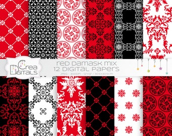 Red and black damask mix - 12 digital papers - DIRECT DOWNLOAD