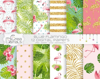 Tropical gold glitter flamingo, 12 digital paper pack, INSTANT DOWNLOAD