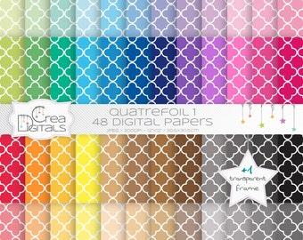 Quatrefoil rainbow paper pack - 48 digital papers - INSTANT DOWNLOAD