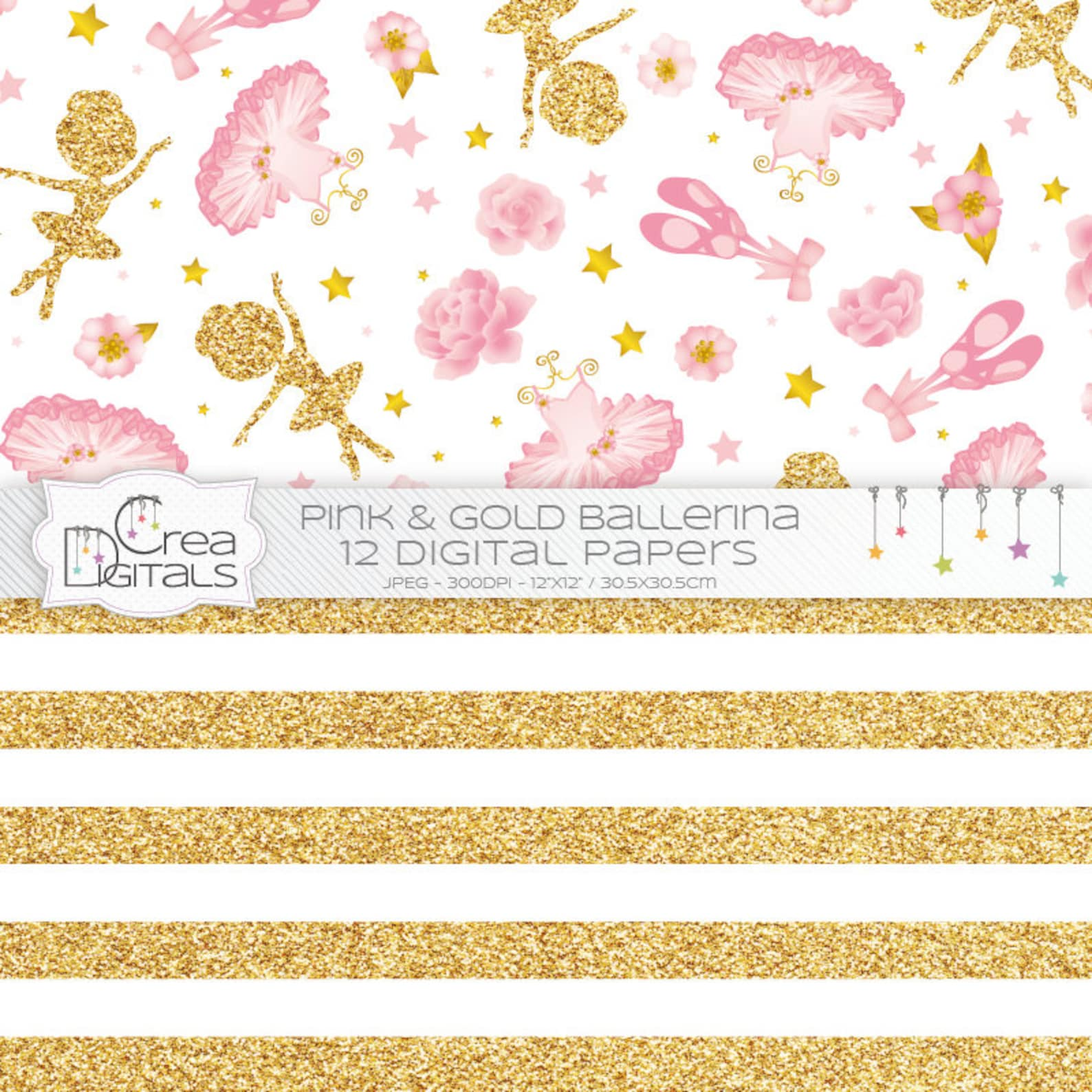 ballerina - 12 pink and gold digital papers - ballet and tutu printables - direct download
