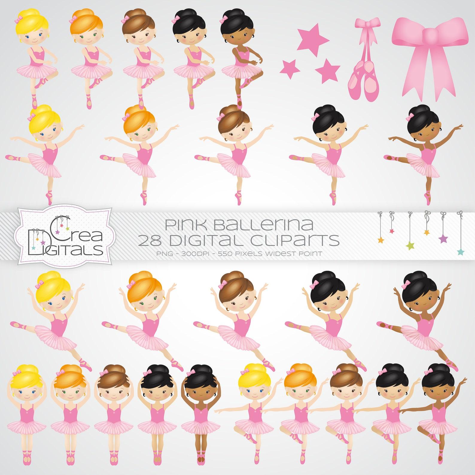 ballerina cliparts - pink ballet dancer - ballerina gala - 28 digital cliparts - instant download