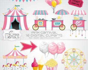 Rose Carnaval / cirque - 16 cliparts numériques - INSTANT DOWNLOAD